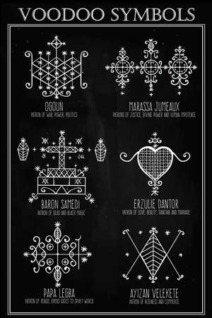 occult: Voodoo spirits symbols set. Spiritual, magical, cultural and tattoo art.