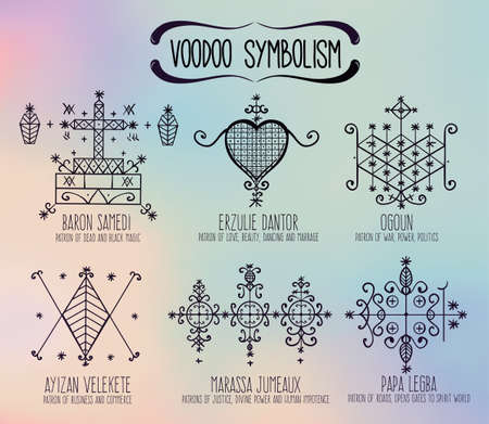 priestess: Voodoo spirits symbols set. Spiritual, magical, cultural and tattoo art.