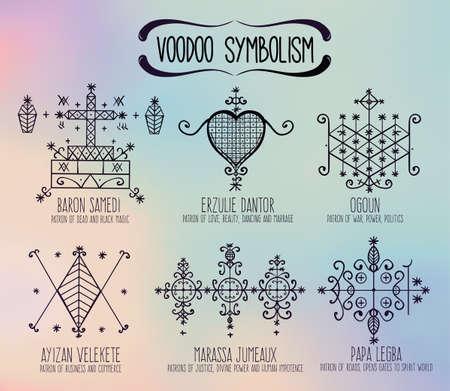 orleans symbol: Voodoo spirits symbols set. Spiritual, magical, cultural and tattoo art.