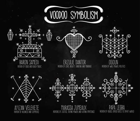 priestess: Voodoo spirits symbols set. Spiritual, magical, cultural and tattoo art.  Illustration