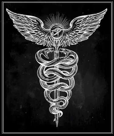 ojo de horus: Caduceo símbolo del dios Mercurio. Serpientes mano muy detallado, envuelto alrededor de bastón alado. Dibujado a mano diseño del tatuaje lineal vintage. Arte aislado romántico oscuro del vector. Vectores