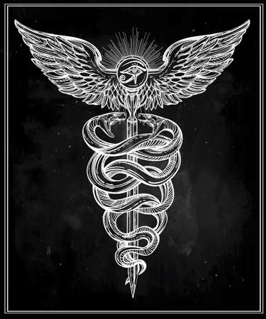 horus: Caduceus symbol of god Mercury. Highly detailed hand snakes, wrapped around winged staff. Hand-drawn vintage linear tattoo design. Dark romantic isolated vector art.