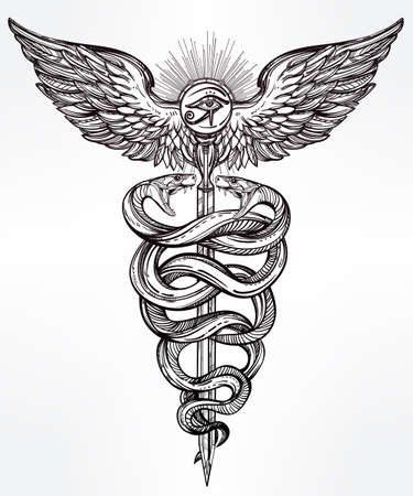 black snake: Caduceus symbol of god Mercury. Highly detailed hand snakes, wrapped around winged staff. Hand-drawn vintage linear tattoo design. Dark romantic isolated vector art.