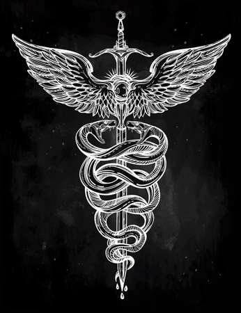 mercury: Caduceus symbol of god Mercury. Highly detailed hand snakes, wrapped around winged staff. Hand-drawn vintage linear tattoo design. Dark romantic isolated vector art.