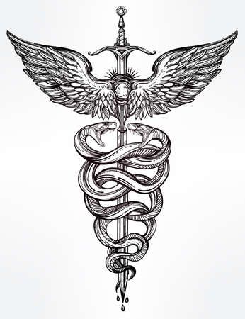 wings: Caduceus symbol of god Mercury. Highly detailed hand snakes, wrapped around winged staff. Hand-drawn vintage linear tattoo design. Dark romantic isolated vector art.