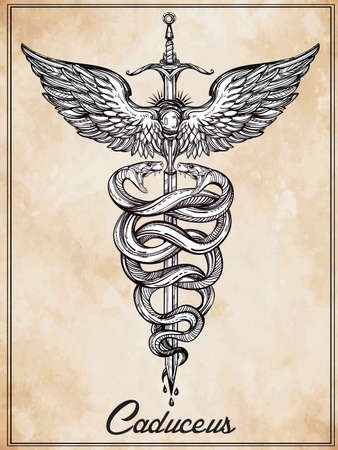 old mercury: Caduceus symbol of god Mercury. Highly detailed hand snakes, wrapped around winged staff. Hand-drawn vintage linear tattoo design. Dark romantic isolated vector art.