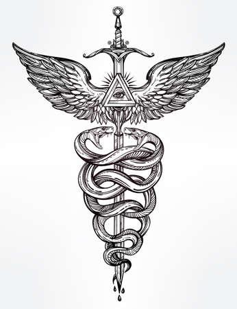 arte greca: Caduceo simbolo del dio Mercurio. Serpenti mano molto dettagliato, avvolto intorno bastone alato. Disegnati a mano disegno del tatuaggio lineari vintage. Scuro romantico isolato grafica vettoriale.