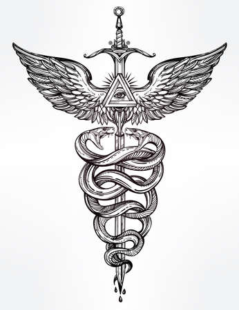 tattoo drawings: Caduceus symbol of god Mercury. Highly detailed hand snakes, wrapped around winged staff. Hand-drawn vintage linear tattoo design. Dark romantic isolated vector art.