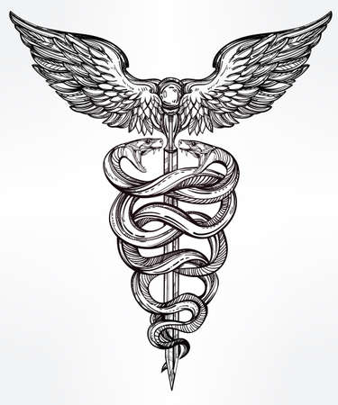 mercury staff: Caduceus symbol of god Mercury. Highly detailed hand snakes, wrapped around winged staff. Hand-drawn vintage linear tattoo design. Dark romantic isolated vector art.
