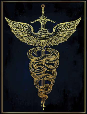 caduceo: Caduceo símbolo del dios Mercurio. Serpientes mano muy detallado, envuelto alrededor de bastón alado. Dibujado a mano diseño del tatuaje lineal vintage. Arte aislado romántico oscuro del vector. Vectores