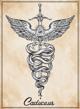 occult: Caduceus symbol of god Mercury. Highly detailed hand snakes, wrapped around winged staff. Hand-drawn vintage linear tattoo design. Dark romantic isolated vector art.