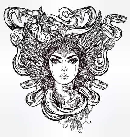 demonio: Dibujado a mano obras de arte hermoso de la Medusa Portriat - un espíritu serpiente femenina en la mitología griega. Libros de alquimia, religión, espiritualidad, ocultismo, arte del tatuaje, colorantes. Ilustración vectorial aislado.