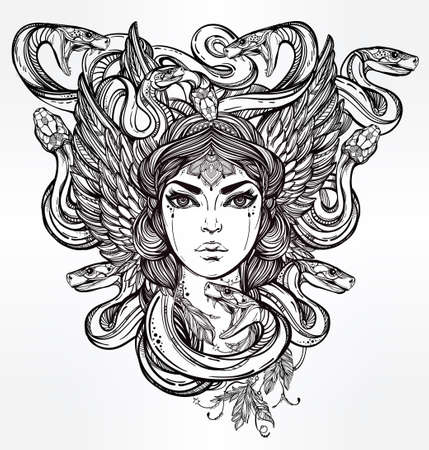 ancient greek: Hand drawn beautiful artwork of Medusa portriat - a female serpent spirit in Greek mythology. Alchemy, religion, spirituality, occultism, tattoo art, coloring books. Isolated vector illustration. Illustration