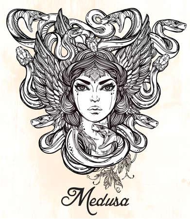 greek gods: Hand drawn beautiful artwork of Medusa portriat - a female serpent spirit in Greek mythology. Alchemy, religion, spirituality, occultism, tattoo art, coloring books. Isolated vector illustration. Illustration