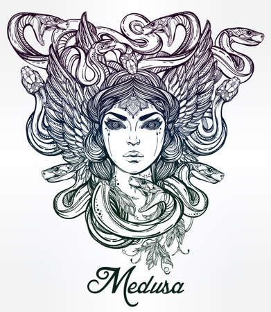 snake head: Hand drawn beautiful artwork of Medusa portriat - a female serpent spirit in Greek mythology. Alchemy, religion, spirituality, occultism, tattoo art, coloring books. Isolated vector illustration. Illustration