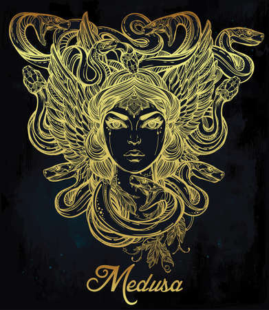 mythology: Hand drawn beautiful artwork of Medusa portriat - a female serpent spirit in Greek mythology. Alchemy, religion, spirituality, occultism, tattoo art, coloring books. Isolated vector illustration. Illustration