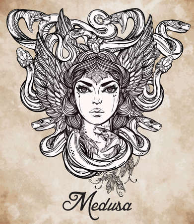 mythology: Hand drawn beautiful artwork of Medusa portriat - a female serpent spirit in Greek mythology. Alchemy, religion, spirituality, occultism, tattoo art, coloring books. Isolated vector illustration. Illustration