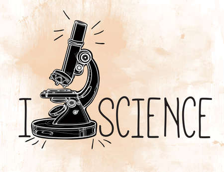 objects equipment: I love science. Hand drawn science beautiful laboratory icon. Vector illustration. Back to School. Lab objects doodle style color sketch. Microscope. Laboratory equipment. Illustration