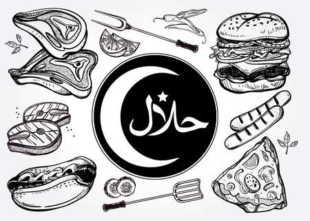 pub food: Halal product set. Halal Label. Muslim food vintage linear style. Isolated vector illustration. Hand drawn elements. Menu template for Muslim restaurant or bar, pub.
