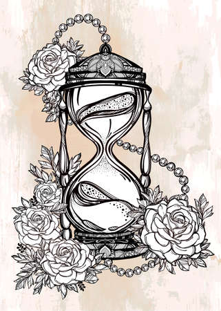 rose tattoo: Hand drawn romantic beautiful drawing of a hourglass with roses. Vector illustration isolated. Tattoo design, mystic time symbol for your use. Illustration