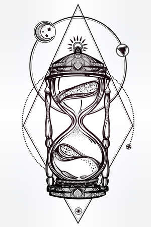time: Hand drawn romantic beautiful drawing of a hourglass. Vector illustration isolated. Tattoo design, mystic time symbol for your use.