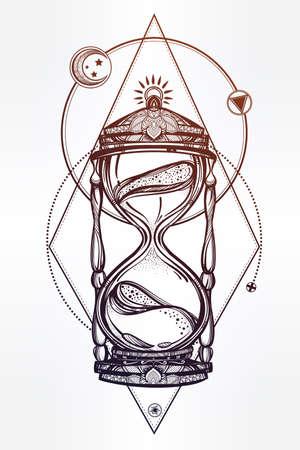 reloj de arena: Dibujado a mano rom�ntico hermoso dibujo de un reloj de arena. Ilustraci�n vectorial aislado. Dise�o del tatuaje, s�mbolo tiempo m�stico para su uso. Vectores