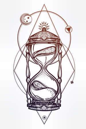 hourglass: Hand drawn romantic beautiful drawing of a hourglass. Vector illustration isolated. Tattoo design, mystic time symbol for your use.