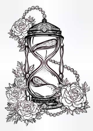 reloj de arena: Dibujado a mano romántico hermoso dibujo de un reloj de arena con las rosas. Ilustración vectorial aislado. Diseño del tatuaje, símbolo tiempo místico para su uso. Vectores