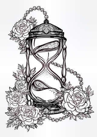 sands of time: Hand drawn romantic beautiful drawing of a hourglass with roses. Vector illustration isolated. Tattoo design, mystic time symbol for your use. Illustration
