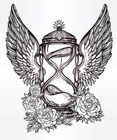 reloj de arena: Dibujado a mano romántico hermoso dibujo de un reloj de arena. Ilustración vectorial aislado. Diseño del tatuaje, símbolo tiempo místico para su uso. Vectores
