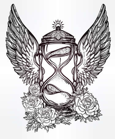 sands of time: Hand drawn romantic beautiful drawing of a hourglass. Vector illustration isolated. Tattoo design, mystic time symbol for your use.