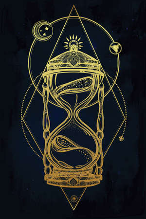 sandglass: Hand drawn romantic beautiful drawing of a hourglass. Vector illustration isolated. Tattoo design, mystic time symbol for your use.
