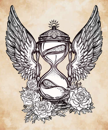 time fly: Hand drawn romantic beautiful drawing of a hourglass. Vector illustration isolated. Tattoo design, mystic time symbol for your use.