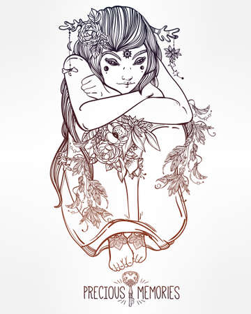 priestess: Hand drawn beautiful artwork of female fairy of the Nature. Alchemy, religion, spirituality, occultism, tattoo art, coloring books. Isolated vector illustration. Illustration
