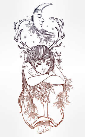 star tattoo: Hand drawn beautiful artwork of female fairy of the Nature. Alchemy, religion, spirituality, occultism, tattoo art, coloring books. Isolated vector illustration. Illustration