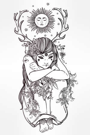 female shaman: Hand drawn beautiful artwork of female fairy of the Nature. Alchemy, religion, spirituality, occultism, tattoo art, coloring books. Isolated vector illustration. Illustration
