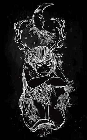 wood nymph: Hand drawn beautiful artwork of female fairy of the Nature. Alchemy, religion, spirituality, occultism, tattoo art, coloring books. Isolated vector illustration. Illustration