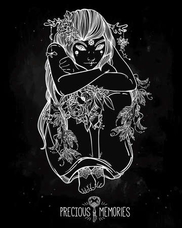 occultism: Hand drawn beautiful artwork of female fairy of the Nature. Alchemy, religion, spirituality, occultism, tattoo art, coloring books. Isolated vector illustration. Illustration