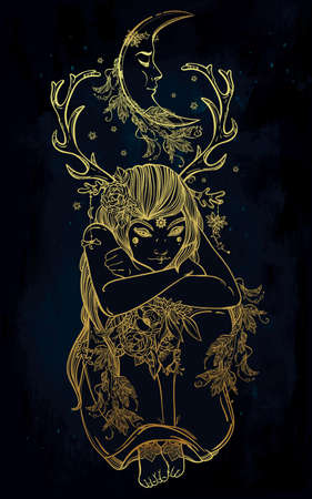 nymph: Hand drawn beautiful artwork of female fairy of the Nature. Alchemy, religion, spirituality, occultism, tattoo art, coloring books. Isolated vector illustration. Illustration
