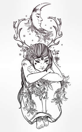 spiritual: Hand drawn beautiful artwork of female fairy of the Nature. Alchemy, religion, spirituality, occultism, tattoo art, coloring books. Isolated vector illustration. Illustration