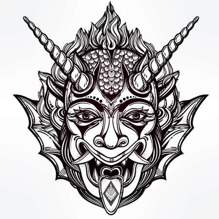 demonio: Dibujado a mano retrato de un demonio con cuernos. Ilustración vectorial aislado. Diseño étnico, símbolo tribal místico para su uso. Carne tatuaje estilo tradicional. Vectores