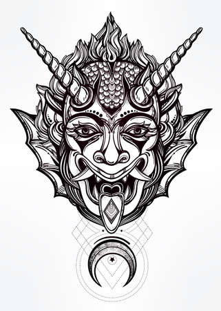 flesh: Hand drawn portrait of a horned deamon with moon. Vector illustration isolated. Ethnic design, mystic tribal symbol for your use. Flesh tattoo traditional style.