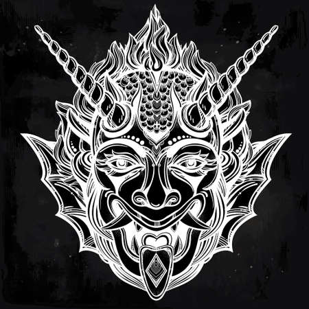 satanic: Hand drawn portrait of a horned deamon. Vector illustration isolated. Ethnic design, mystic tribal symbol for your use. Flesh tattoo traditional style.