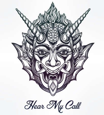 satan: Dibujado a mano retrato de un demonio con cuernos. Ilustración vectorial aislado. Diseño étnico, símbolo tribal místico para su uso. Carne tatuaje estilo tradicional. Vectores