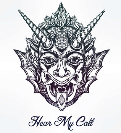 horned: Hand drawn portrait of a horned deamon. Vector illustration isolated. Ethnic design, mystic tribal symbol for your use. Flesh tattoo traditional style.