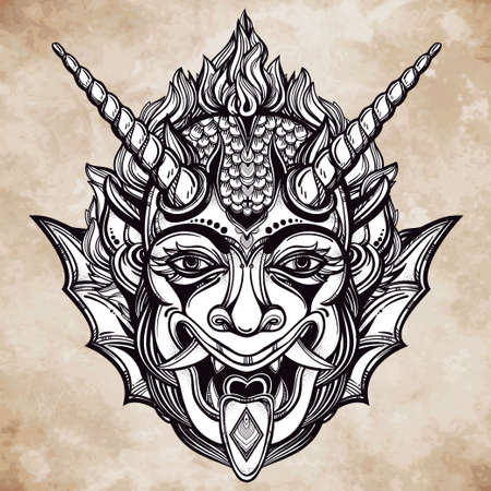 flesh: Hand drawn portrait of a horned deamon. Vector illustration isolated. Ethnic design, mystic tribal symbol for your use. Flesh tattoo traditional style.