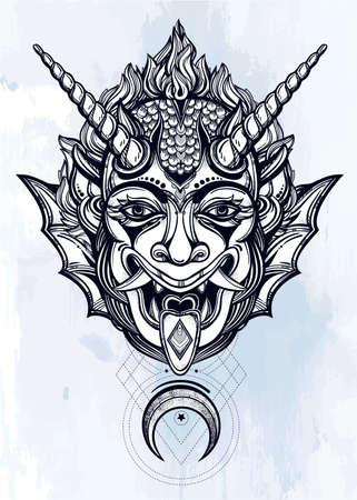 demonio: Dibujado a mano retrato de un demonio con cuernos con la luna. Ilustración vectorial aislado. Diseño étnico, símbolo tribal místico para su uso. Carne tatuaje estilo tradicional. Vectores