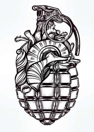 anatomia humana: Dibujado a mano retro del corazón del dibujo granada en el estilo vintage. Adornado elemento de diseño del tatuaje detallada. Ilustración vectorial aislado. Tarjetas, camisetas, desecho-reservación, el concepto de impresión de arte.