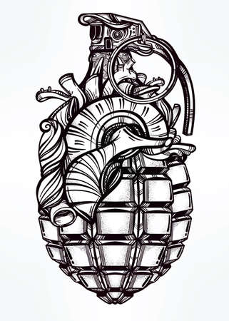 human: Hand drawn retro Heart of Grenade drawing in vintage style. Ornate detailed tattoo design element. Vector illustration isolated. Cards, t-shirts, scrap-booking, print concept art.
