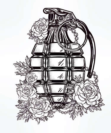 hand grenade: Hand drawn retro Hand Grenade aderned with flowers drawing in vintage style. Ornate detailed tattoo design element. Vector illustration isolated. Cards, t-shirts, scrap-booking, print concept art.